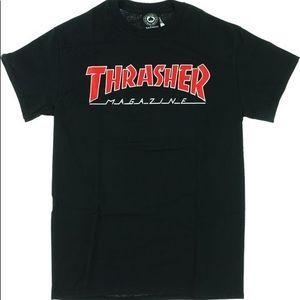 thrasher mag outlined black t shirt